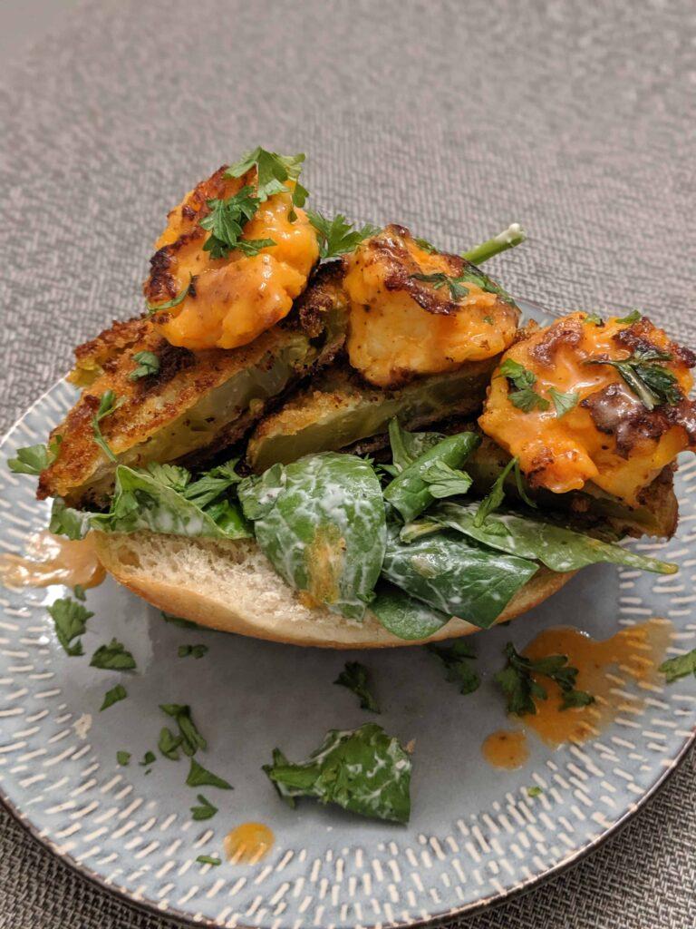 Buffalo Shrimp & Fried Green Tomato Sandwich