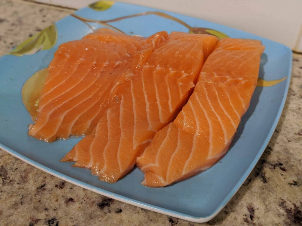 raw salmon on a plate
