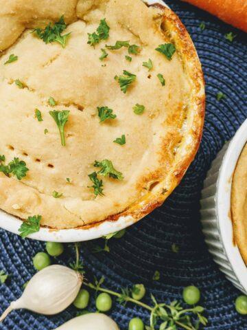 homeamde chicken pot pie in white ramekins
