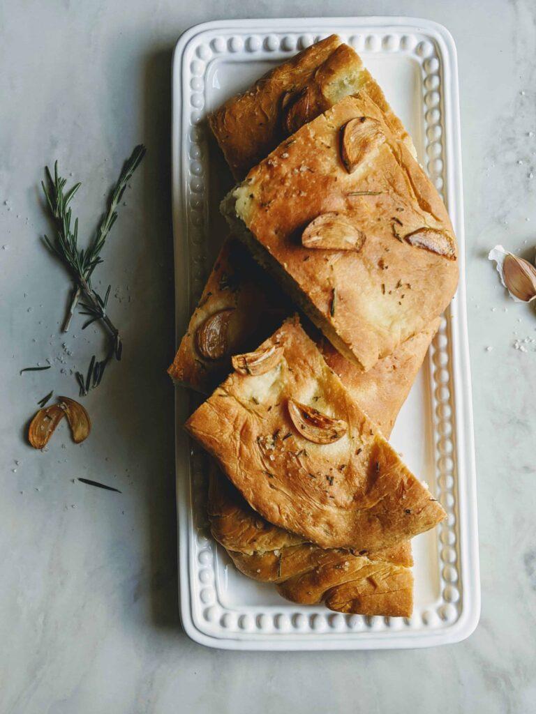 Rosemary Garlic Focaccia Bread in pieces