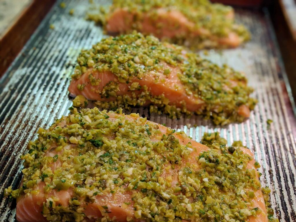 raw Olive Crusted Baked Salmon