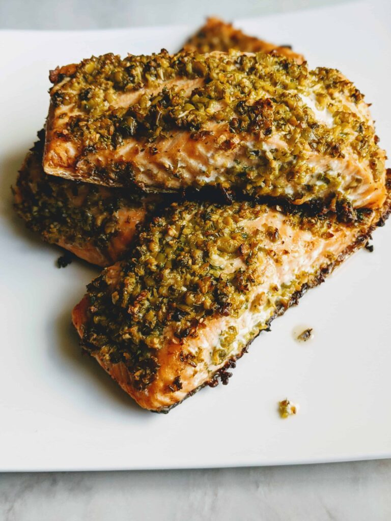 cooked Olive Crusted Baked Salmon
