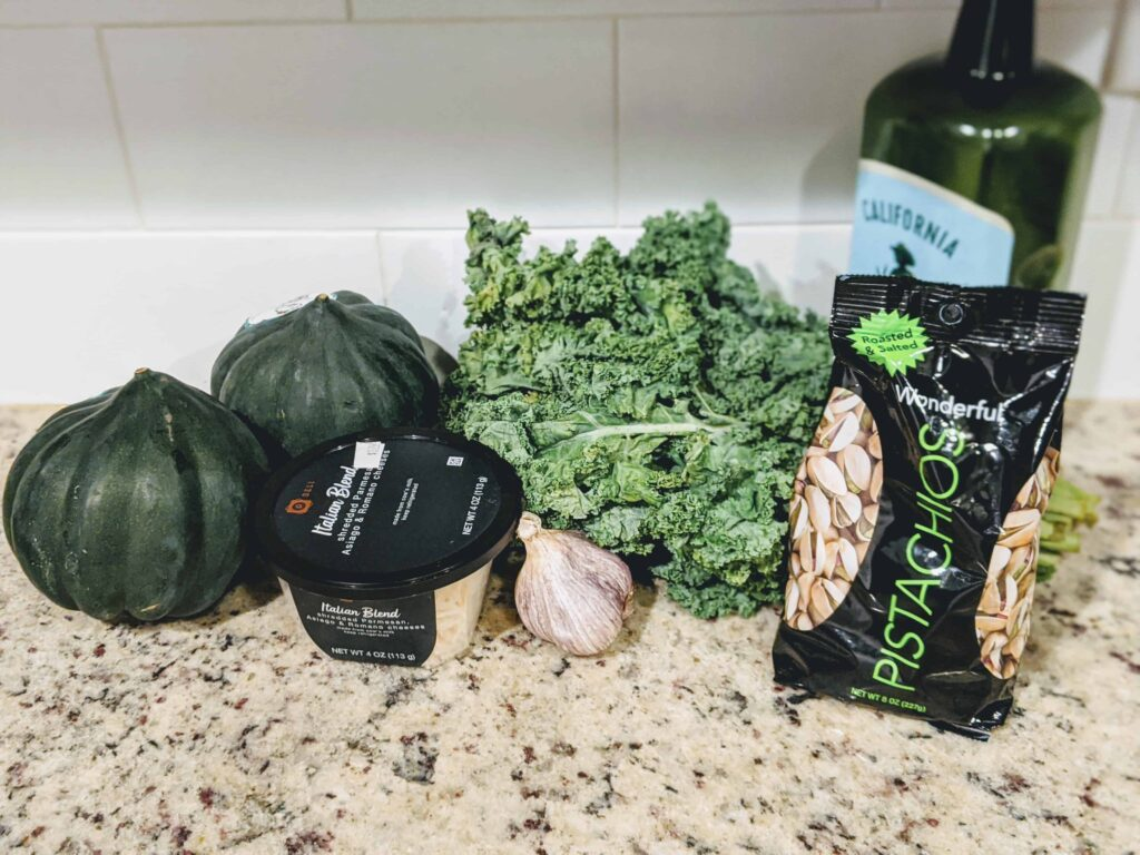 Roasted Acorn Squash with Kale Pesto ingredients