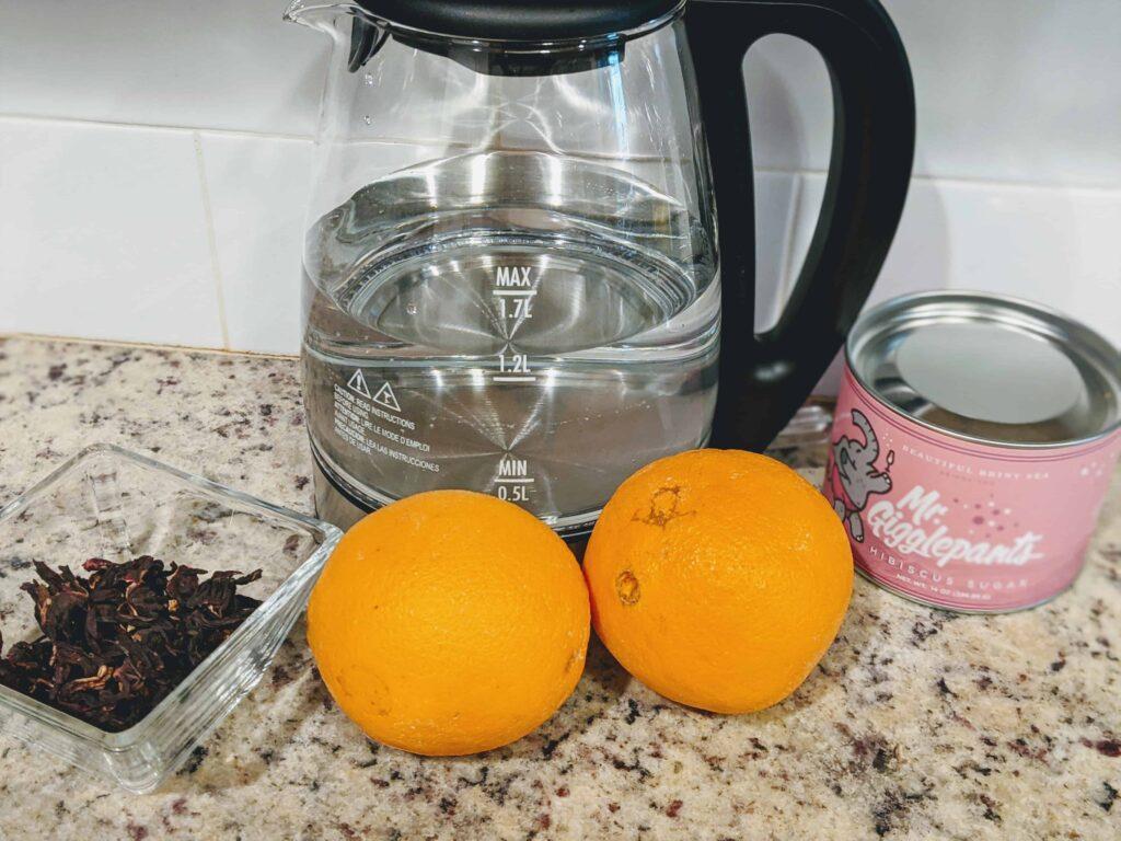 oranges, hibsicus sugar, dried hibiscus