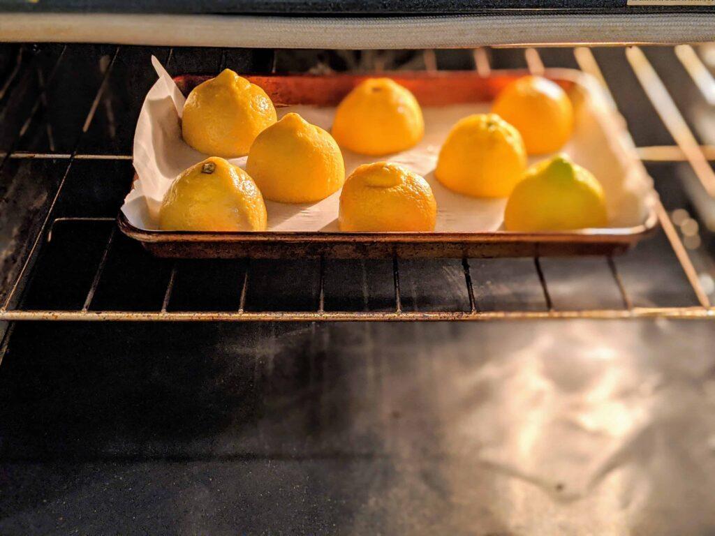lemons in an oven