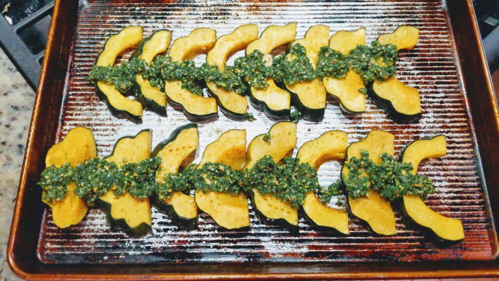 Roasted Acorn Squash with Kale Pesto