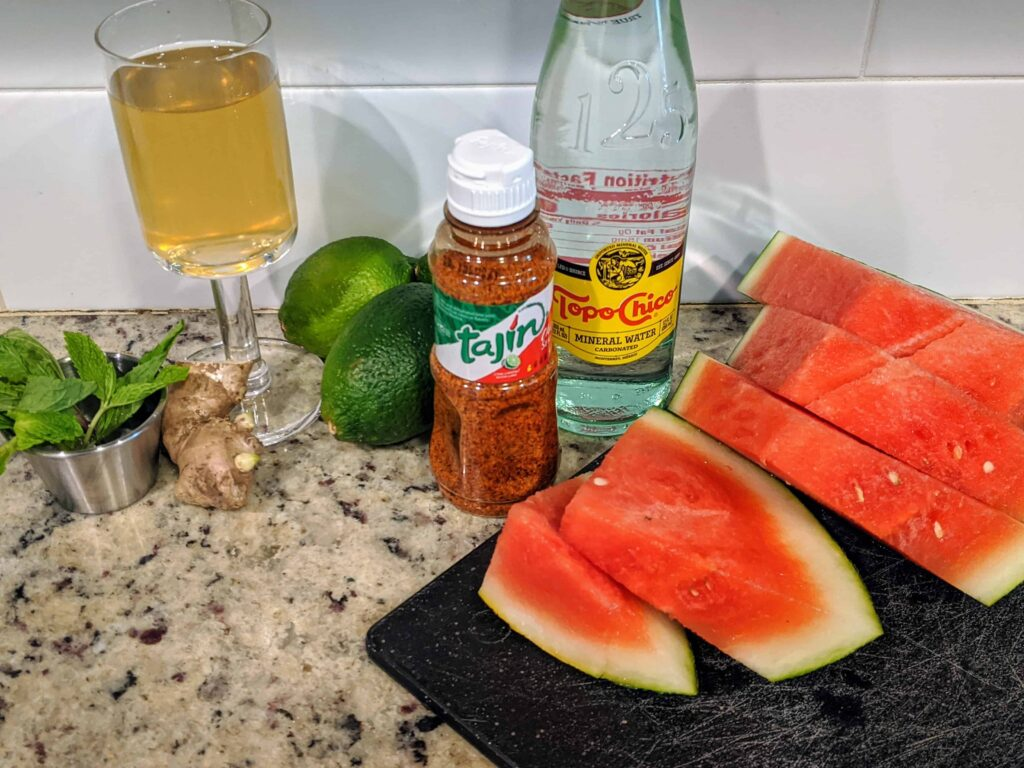 Summer Watermelon Fizz ingredients on a counter