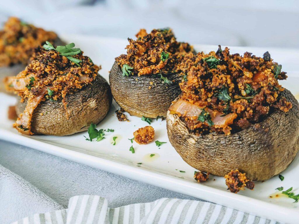 Soy Chorizo Stuffed Mushrooms