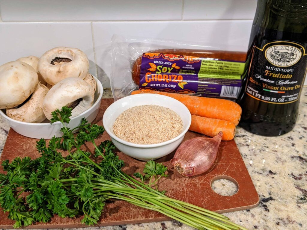 Soy Chorizo Stuffed Mushrooms ingredients