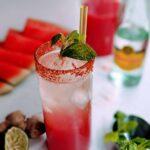summer watermelon fizz in a glass