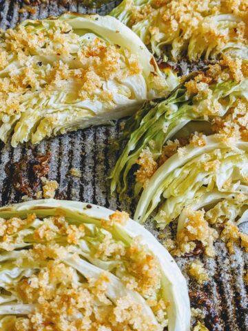 crispy roasted cabbage wedges