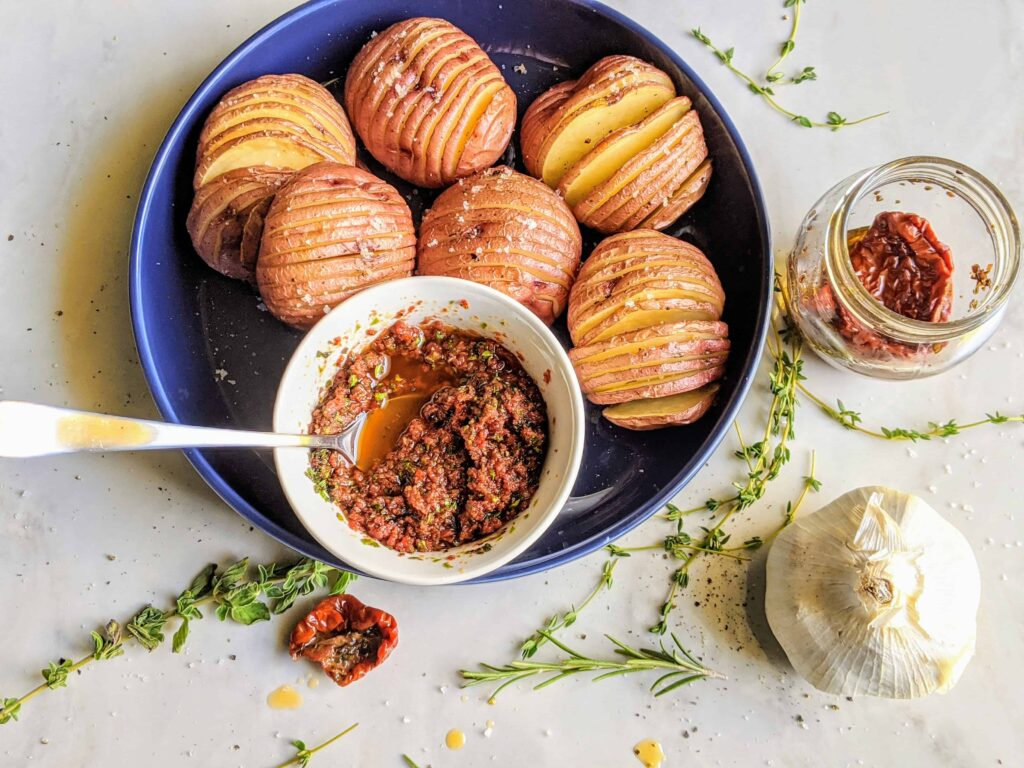 mini hassselback potatoes with sun-dried tomato pesto