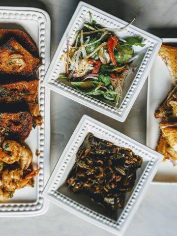Cooks and soldiers bikini, garlic shrimp, roasted greens,ensalada verde roasted
