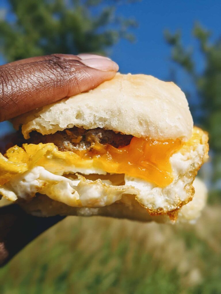 chicken sausage, egg, cheese butterly biscuit