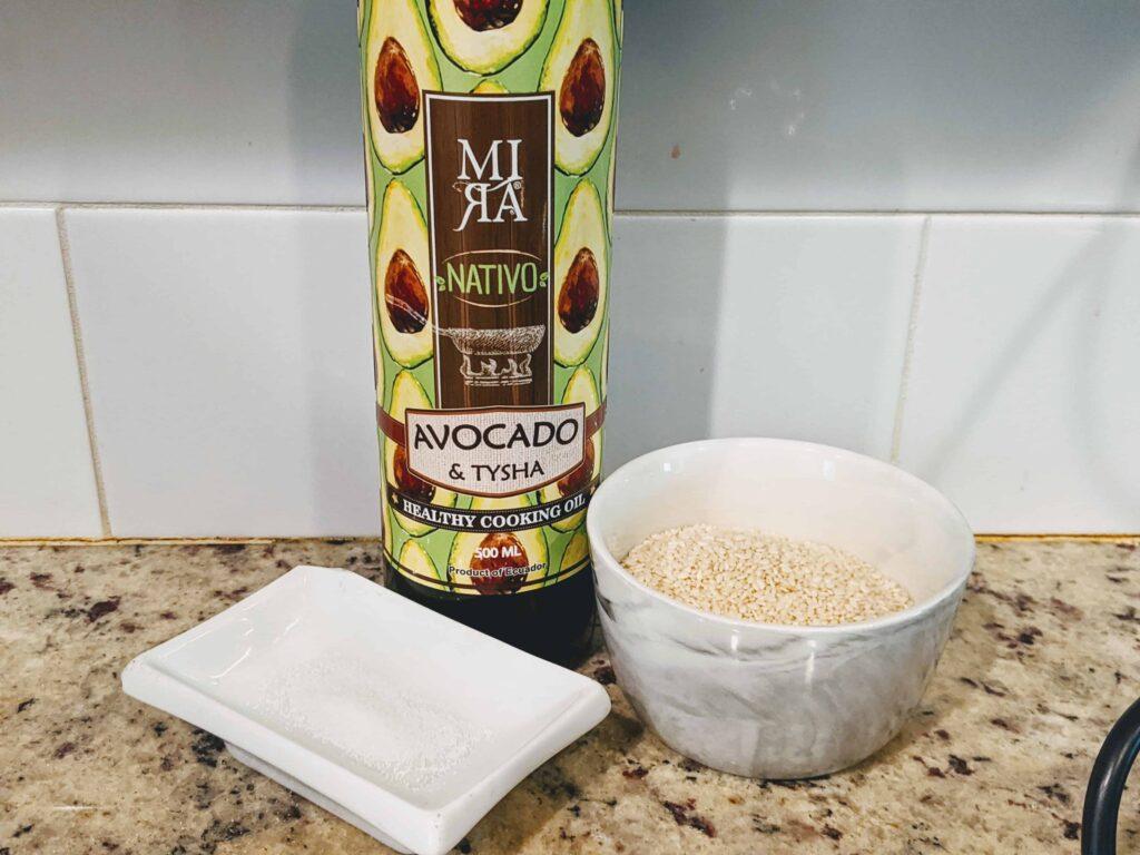 avocado oil, sesame seeds, salt