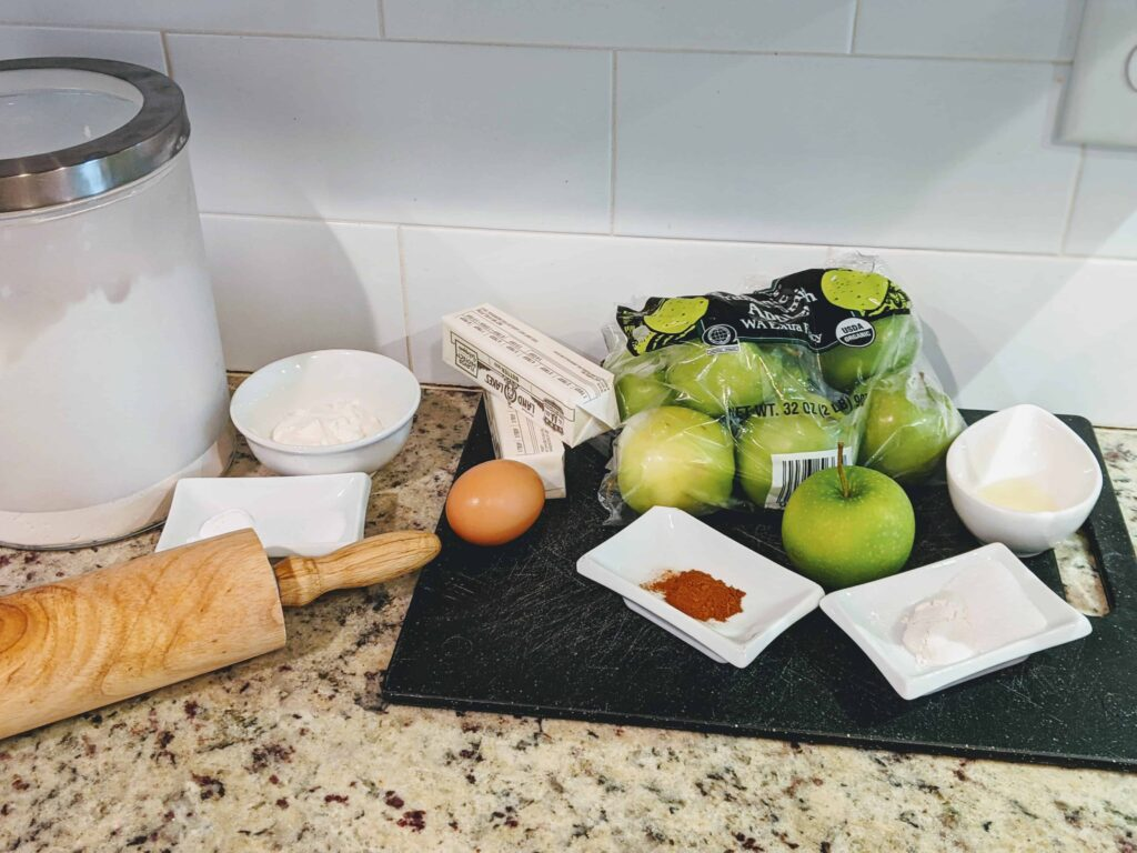 eggs, butter, apples, dry ingredients