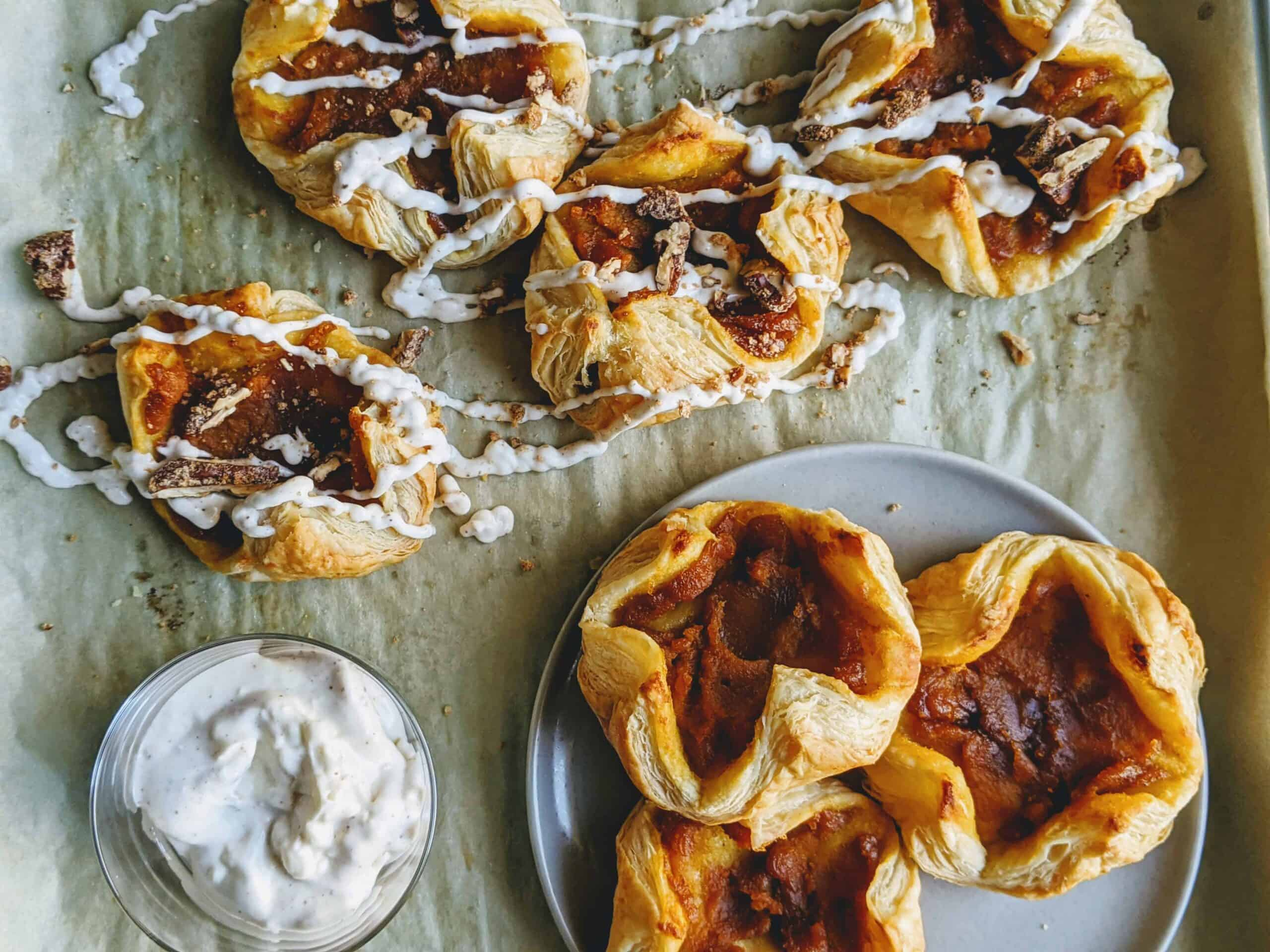 pumpkin bites with cream cheese dip and candied pecans