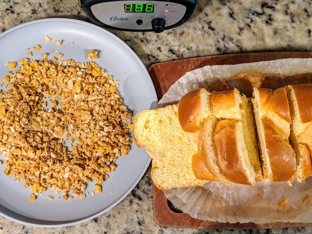 Trader Joe's toasted coconut granola, sliced vrioche bread