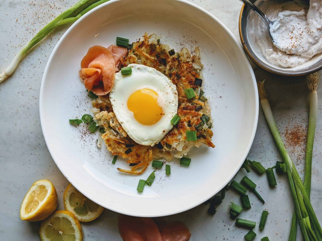 hashbrowns with a twist on a white plate