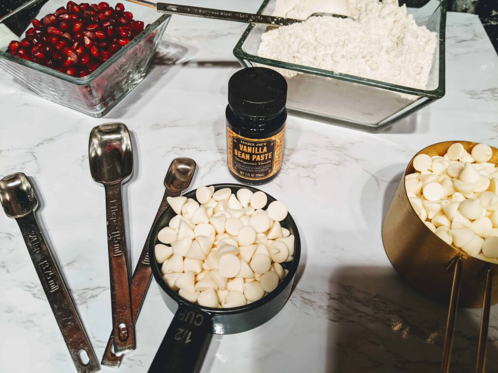 pomegranate and white chocolate chip cookies ingredients