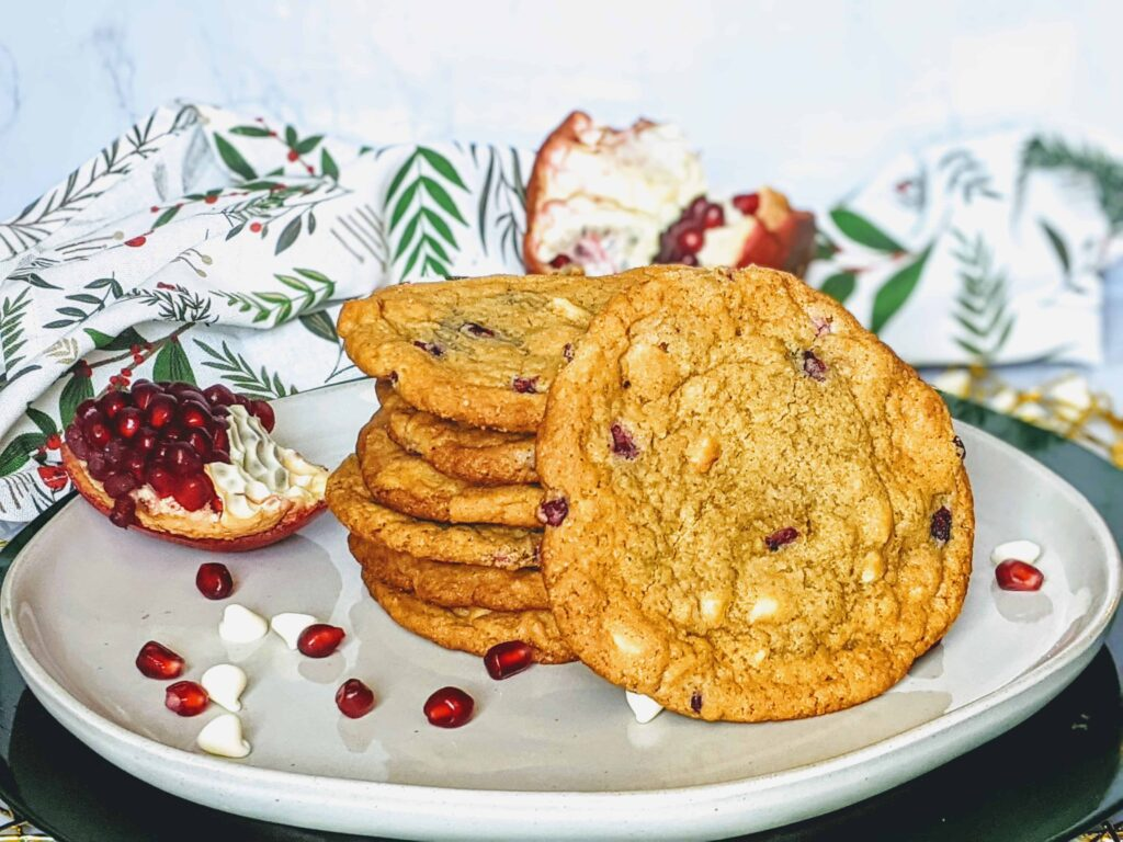 pomegranate and white chocolate chip cookies