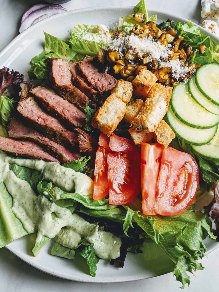 Roasted Corn and Flank Steak Salad with Green Goddess Dressing