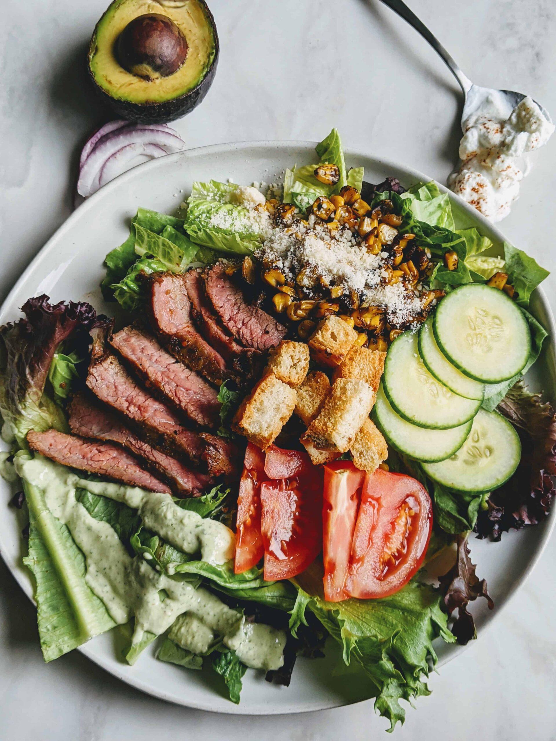 roasted corn and flank steak salad