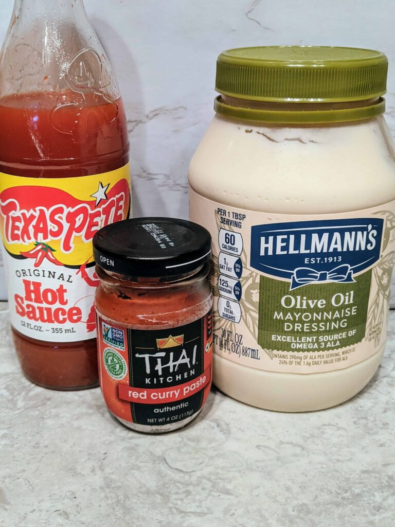 spicy curry dip ingredients-mayo, red curry paste, hot sauce