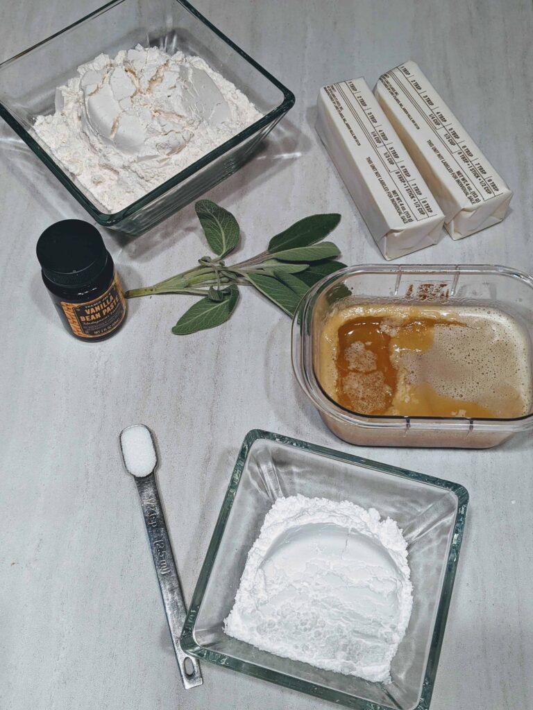 flour, sage, brown butter, butter, vanilla paste, powdered sugar