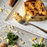 cheddar, sausage, and langoustine quiche