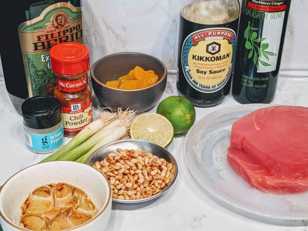 Ahi Tuna Salad with Roasted Garlic, Orange & Balsamic dressing ingredients