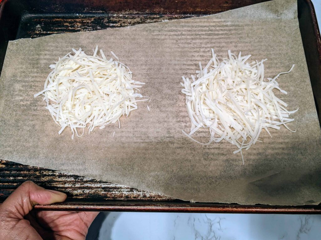 parmesan cheese on a baking sheet
