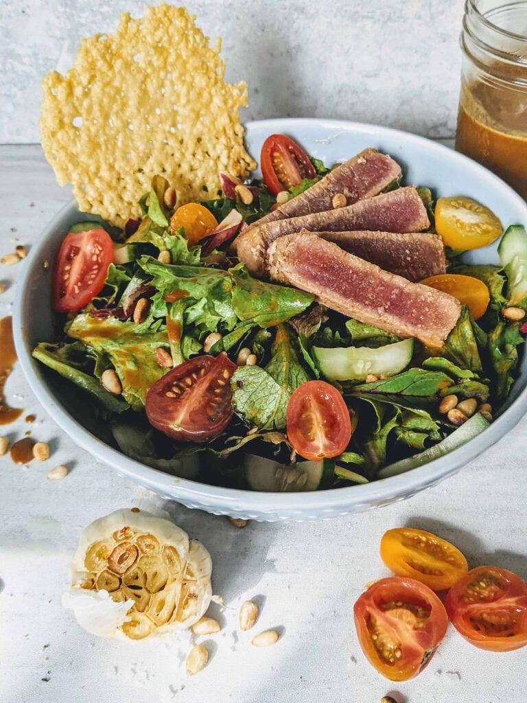 Ahi Tuna Salad with Roasted Garlic, Orange & Balsamic dressing