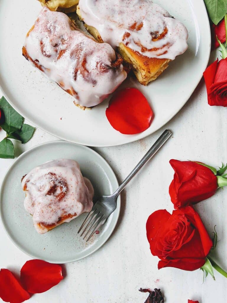 Rose Infused Cinnamon Rolls with Cream Cheese Frosting