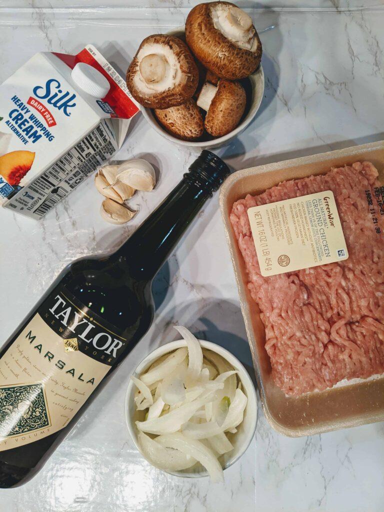 fround chicken, marsala wine, onions, garlic, mushrooms, heavy cream alternative