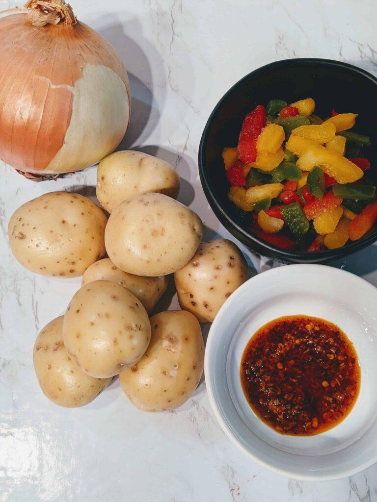 ingredients for crispy golden smashed potatoes