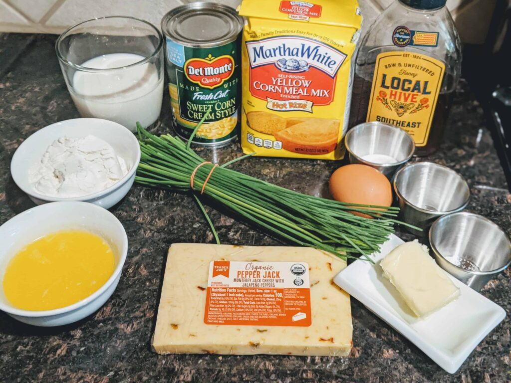cornmeal honey, chives, melted butter, dry ingredients, egg, pepper jack cheese, creamed corn