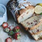 strawberry basil bread with lemon glaze