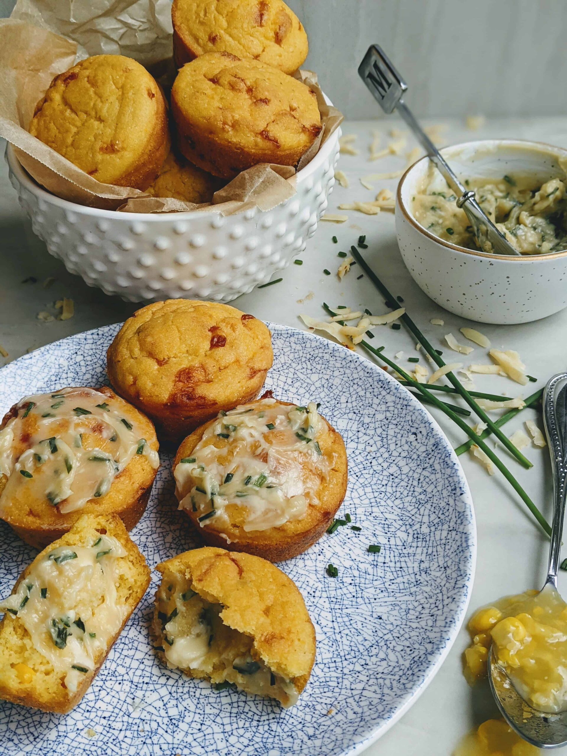Pepper Jack Cornbread Muffins with Chive Honey Butter