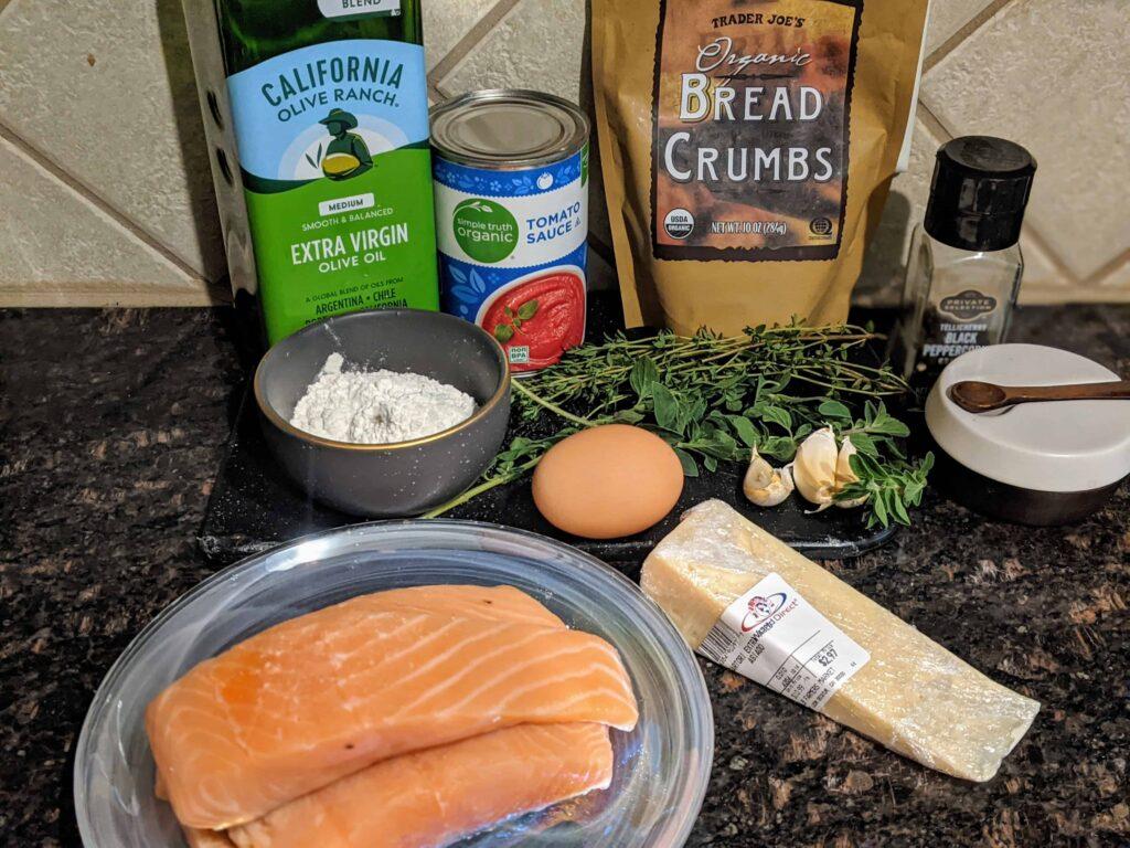 ingredients for salmon parmesan