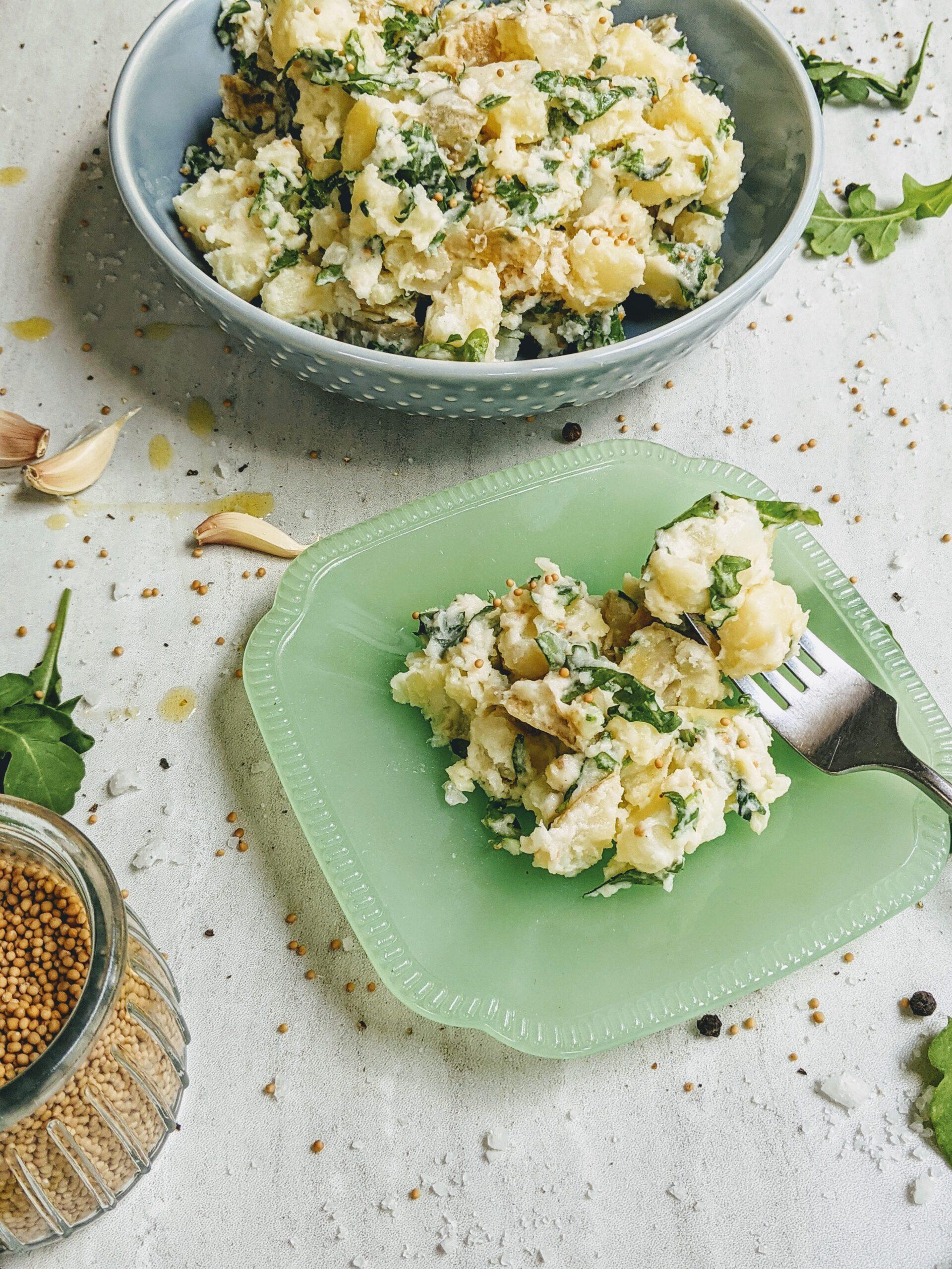 olden potato salad with truffle oil and arugula